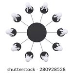 set of puppet people around one ... | Shutterstock . vector #280928528