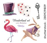 watercolor wonderland set. hand ... | Shutterstock .eps vector #280929809