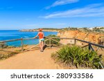 young woman tourist standing on ... | Shutterstock . vector #280933586
