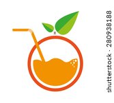 orange with straw logo. flat... | Shutterstock .eps vector #280938188