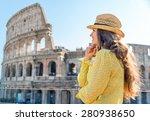 a woman tourist is standing ... | Shutterstock . vector #280938650