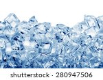 Ice Cubes Isolated On White...
