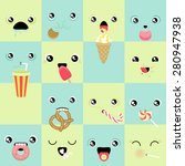 set of cute vector faces eating ... | Shutterstock .eps vector #280947938