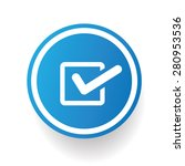 checking icon on blue button...   Shutterstock .eps vector #280953536