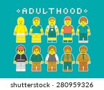Vector people flat illustration. People at different stages of maturation. Vector mans, kids, and adults made in constructor style.