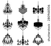 big set with chandelier... | Shutterstock .eps vector #280968506