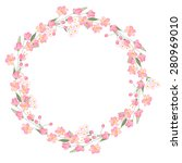 detailed contour wreath with...   Shutterstock .eps vector #280969010
