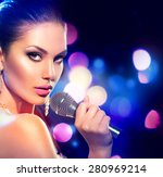 beautiful singing girl. beauty... | Shutterstock . vector #280969214
