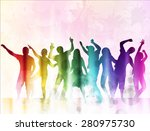 happy people silhouettes with... | Shutterstock .eps vector #280975730