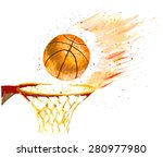 Watercolor Basketball Ball...
