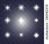 set of vector glowing light... | Shutterstock .eps vector #280982378