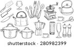set of cute hand drawn kitchen... | Shutterstock .eps vector #280982399