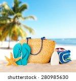 summer beach with accessories.... | Shutterstock . vector #280985630