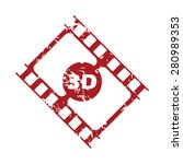 red grunge 3d film logo on a...