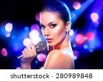 beautiful singing girl. beauty...   Shutterstock . vector #280989848