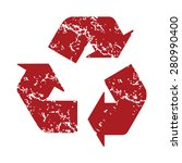 Red Grunge Recycling Logo On A...