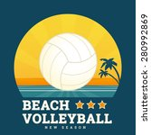 beach volleyball seasonal card... | Shutterstock .eps vector #280992869