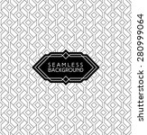 monochrome seamless arabic art deco black and white wallpaper or background with hipster label or badge | Shutterstock vector #280999064