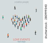people standing as heart shape... | Shutterstock .eps vector #280999340
