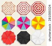 beach umbrellas top view  ... | Shutterstock .eps vector #281000324