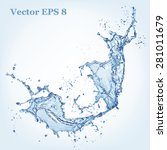 blue water splash  vector... | Shutterstock .eps vector #281011679