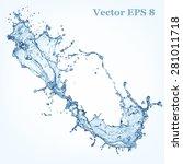 Blue Water Splash  Vector...