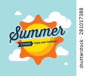 summer logo vector illustration.... | Shutterstock .eps vector #281017388
