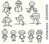 hand drawing  happy kids | Shutterstock .eps vector #281034500