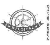 nautical label. vintage rudder  ... | Shutterstock .eps vector #281041106