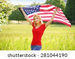 beautiful patriotic young woman ... | Shutterstock . vector #281044190