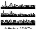 Three Black and white panorama cities - illustration - stock photo