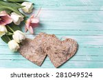 Two Decorative Hearts And  Pin...