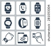 vector icon set of smart watches | Shutterstock .eps vector #281053304