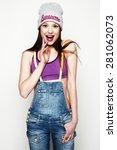 surprised girl portrait. studio ... | Shutterstock . vector #281062073