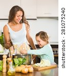 young mother with little... | Shutterstock . vector #281075240