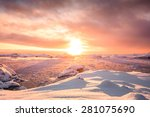 beautiful snow capped mountains ... | Shutterstock . vector #281075690