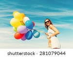 colorful fun. low angle view of ...
