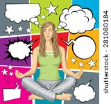 vector woman meditating in... | Shutterstock .eps vector #281080184