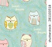 Cartoon Sleeping Owl. Cute Han...
