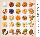 colorful set of dried fruit and ... | Shutterstock .eps vector #281112413