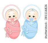 cute baby boy and girl | Shutterstock .eps vector #281116826