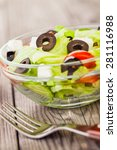 fresh tasty salad  vegetarian... | Shutterstock . vector #281116988