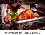housewife prepares roast... | Shutterstock . vector #281118413
