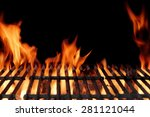 empty hot charcoal barbecue... | Shutterstock . vector #281121044