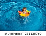happy child playing in swimming ... | Shutterstock . vector #281125760