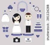 wedding elements set. bride ... | Shutterstock .eps vector #281126288