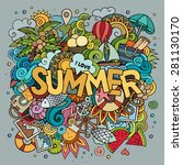 summer hand lettering and... | Shutterstock .eps vector #281130170