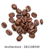 roasted coffee beans isolated... | Shutterstock . vector #281138540