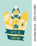 surfboards with tropical design ... | Shutterstock .eps vector #281141480