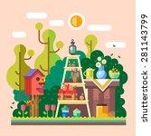 summer  in village garden.... | Shutterstock .eps vector #281143799